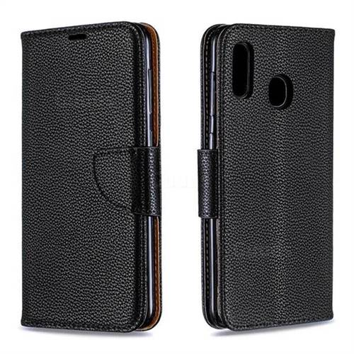 Classic Luxury Litchi Leather Phone Wallet Case for Samsung Galaxy A30 - Black