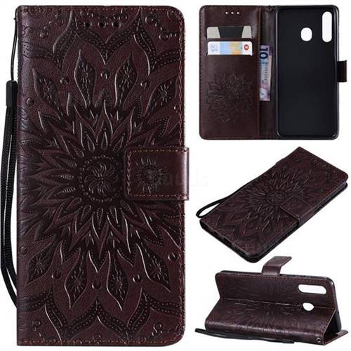 Embossing Sunflower Leather Wallet Case for Samsung Galaxy A30 - Brown
