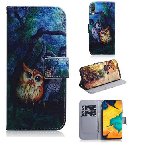 Oil Painting Owl PU Leather Wallet Case for Samsung Galaxy A30