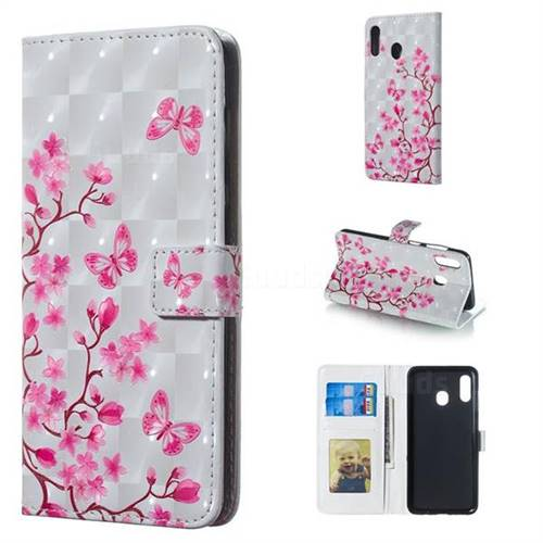 Butterfly Sakura Flower 3D Painted Leather Phone Wallet Case for Samsung Galaxy A30
