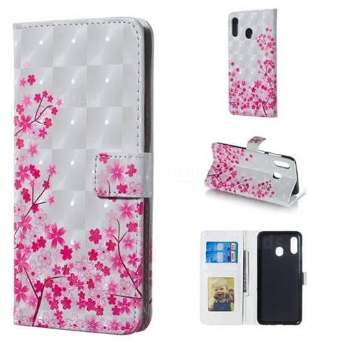 Cherry Blossom 3D Painted Leather Phone Wallet Case for Samsung Galaxy A30