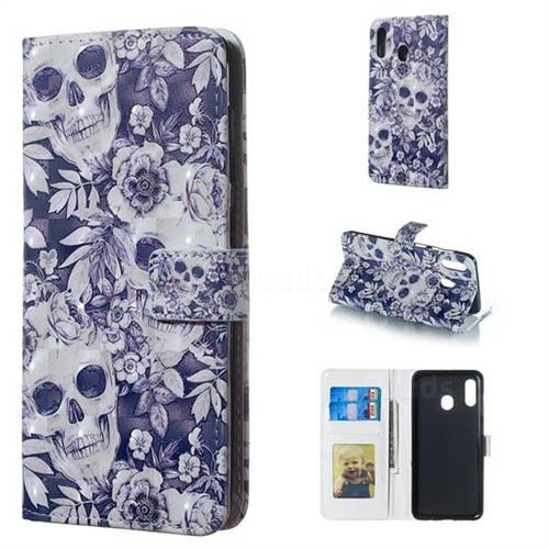 Skull Flower 3D Painted Leather Phone Wallet Case for Samsung Galaxy A30