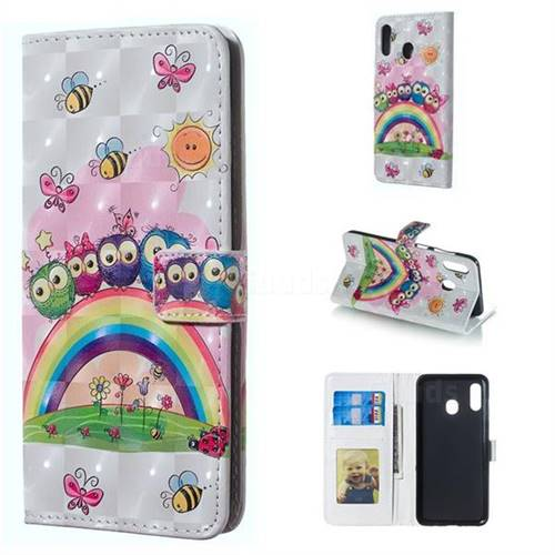 Rainbow Owl Family 3D Painted Leather Phone Wallet Case for Samsung Galaxy A30