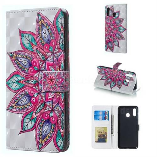 Mandara Flower 3D Painted Leather Phone Wallet Case for Samsung Galaxy A30
