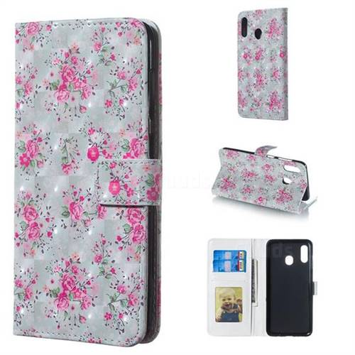 Roses Flower 3D Painted Leather Phone Wallet Case for Samsung Galaxy A30