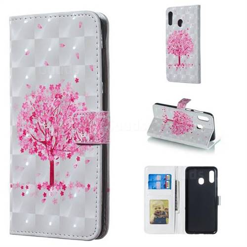 Sakura Flower Tree 3D Painted Leather Phone Wallet Case for Samsung Galaxy A30