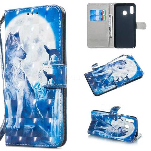 Ice Wolf 3D Painted Leather Wallet Phone Case for Samsung Galaxy A30
