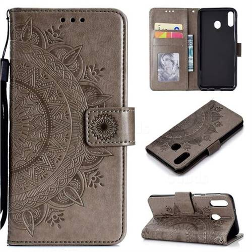 Intricate Embossing Datura Leather Wallet Case for Samsung Galaxy A30 - Gray
