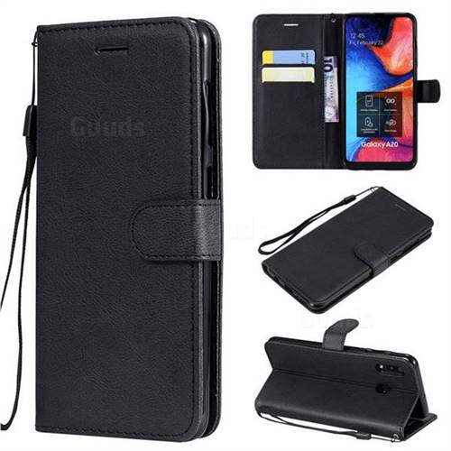 Retro Greek Classic Smooth PU Leather Wallet Phone Case for Samsung Galaxy A30 - Black