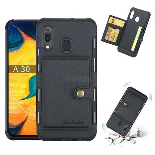 Brush Multi-function Leather Phone Case for Samsung Galaxy A30 - Black