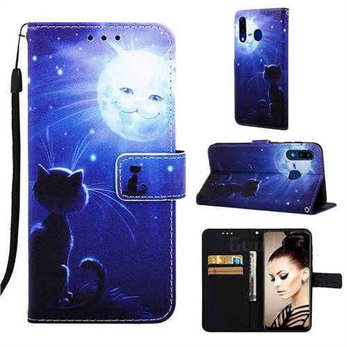 Cat and Moon Matte Leather Wallet Phone Case for Samsung Galaxy A30