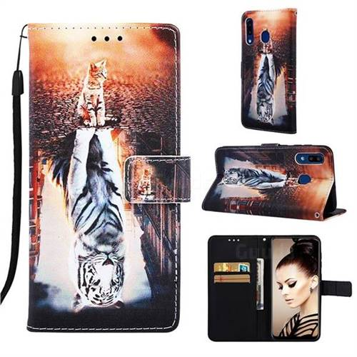 Cat and Tiger Matte Leather Wallet Phone Case for Samsung Galaxy A30