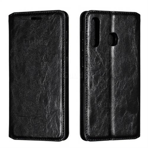 Retro Slim Magnetic Crazy Horse PU Leather Wallet Case for Samsung Galaxy A30 - Black