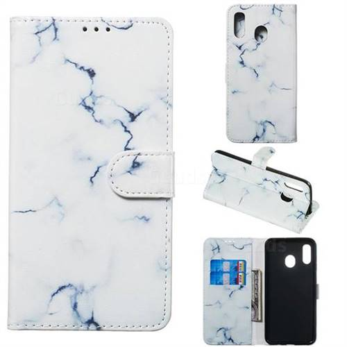 Soft White Marble PU Leather Wallet Case for Samsung Galaxy A30