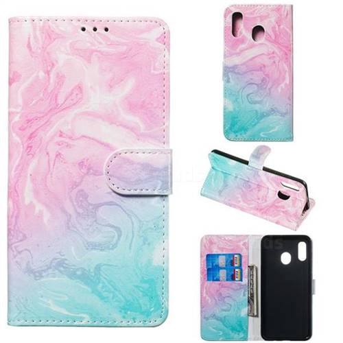 Pink Green Marble PU Leather Wallet Case for Samsung Galaxy A30