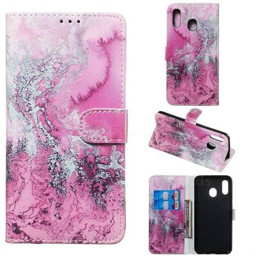 Pink Seawater PU Leather Wallet Case for Samsung Galaxy A30