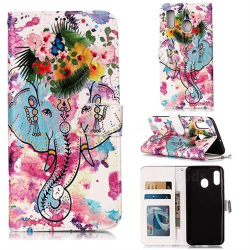 Flower Elephant 3D Relief Oil PU Leather Wallet Case for Samsung Galaxy A30