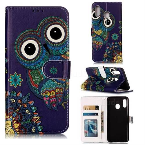 Folk Owl 3D Relief Oil PU Leather Wallet Case for Samsung Galaxy A30