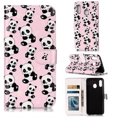 Cute Panda 3D Relief Oil PU Leather Wallet Case for Samsung Galaxy A30