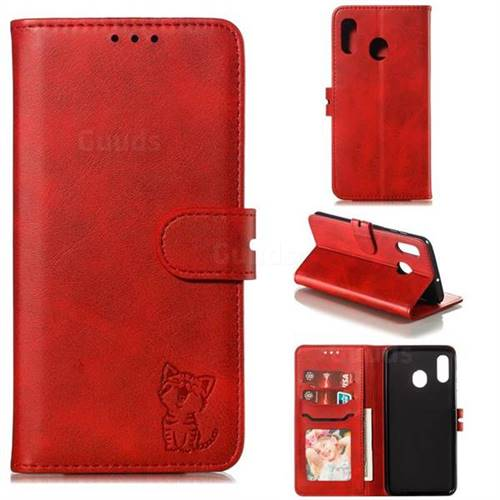 Embossing Happy Cat Leather Wallet Case for Samsung Galaxy A30 - Red