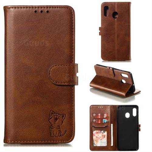 Embossing Happy Cat Leather Wallet Case for Samsung Galaxy A30 - Brown