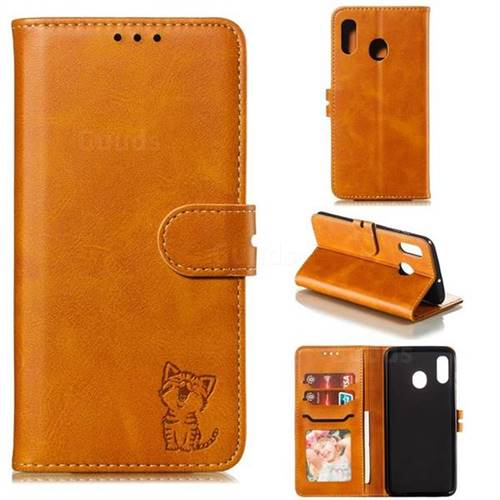 Embossing Happy Cat Leather Wallet Case for Samsung Galaxy A30 - Yellow