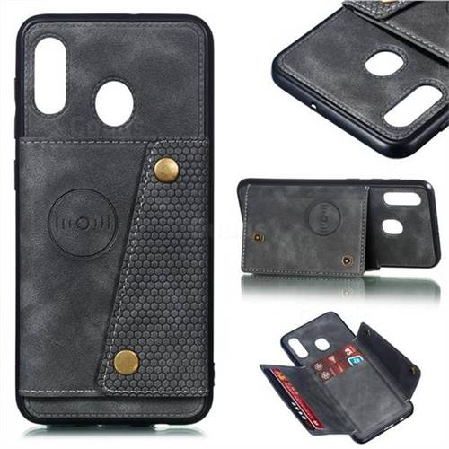 Retro Multifunction Card Slots Stand Leather Coated Phone Back Cover for Samsung Galaxy A30 - Gray
