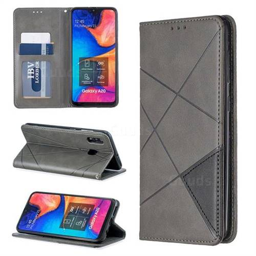 Prismatic Slim Magnetic Sucking Stitching Wallet Flip Cover for Samsung Galaxy A30 - Gray