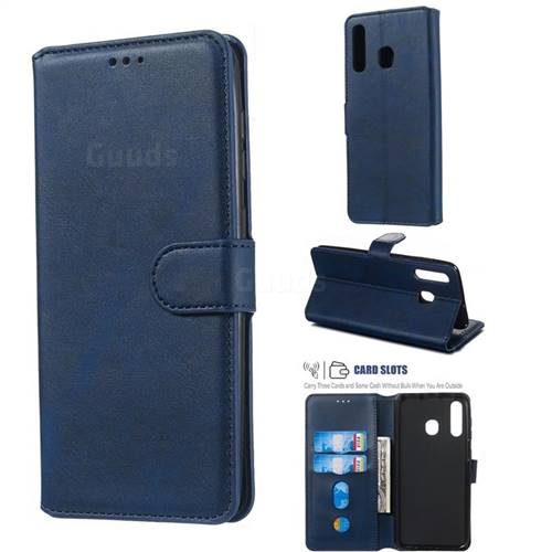 Retro Calf Matte Leather Wallet Phone Case for Samsung Galaxy A30 - Blue