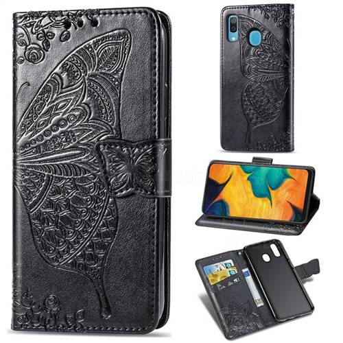 Embossing Mandala Flower Butterfly Leather Wallet Case for Samsung Galaxy A30 - Black
