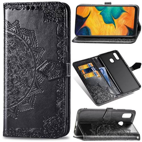 Embossing Imprint Mandala Flower Leather Wallet Case for Samsung Galaxy A30 - Black