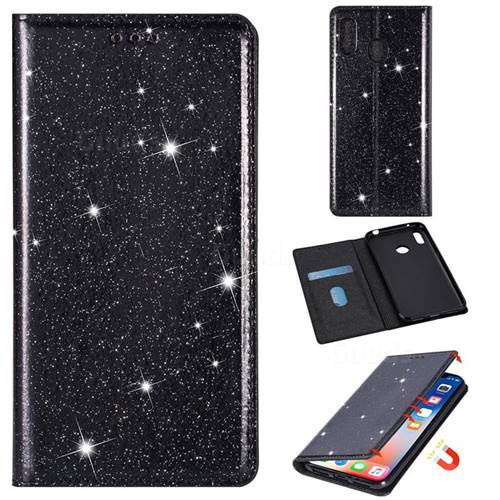 Ultra Slim Glitter Powder Magnetic Automatic Suction Leather Wallet Case for Samsung Galaxy A30 - Black