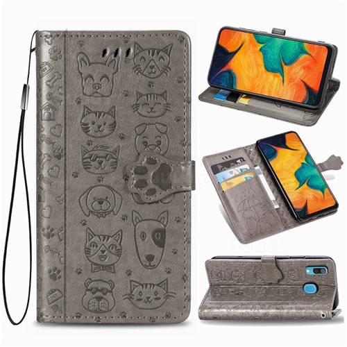 Embossing Dog Paw Kitten and Puppy Leather Wallet Case for Samsung Galaxy A30 - Gray
