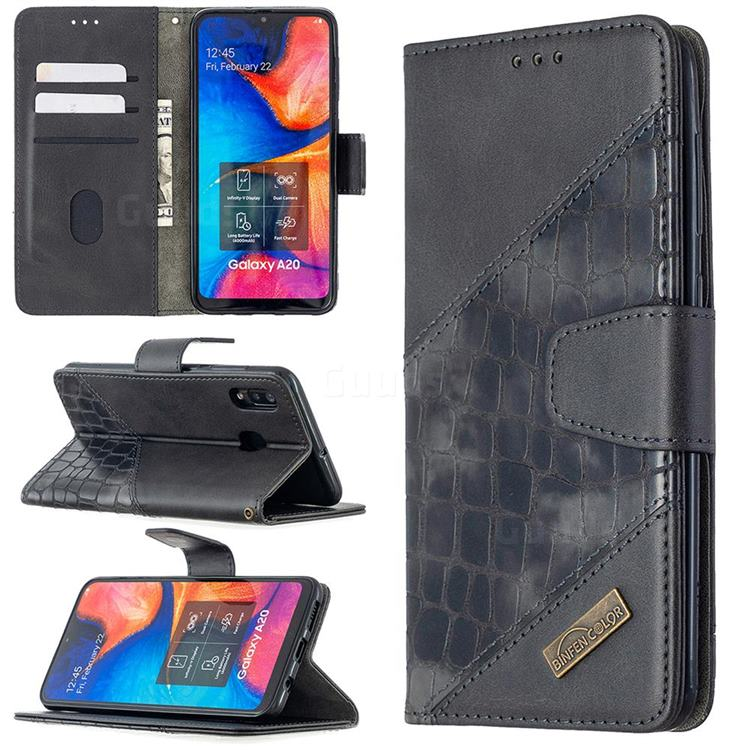 BinfenColor BF04 Color Block Stitching Crocodile Leather Case Cover for Samsung Galaxy A30 - Black