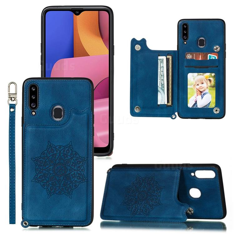 Luxury Mandala Multi-function Magnetic Card Slots Stand Leather Back Cover for Samsung Galaxy A30 - Blue