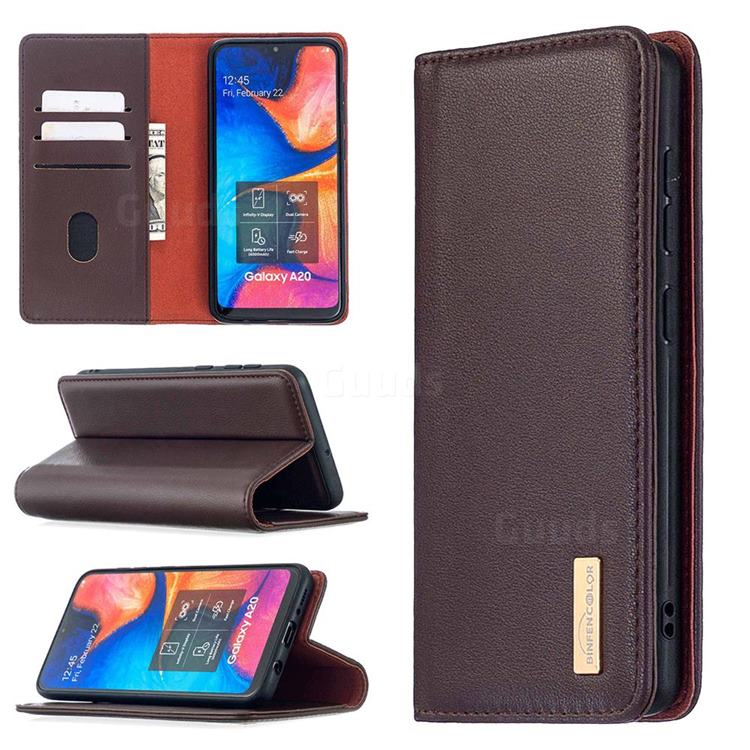 Binfen Color BF06 Luxury Classic Genuine Leather Detachable Magnet Holster Cover for Samsung Galaxy A30 - Dark Brown