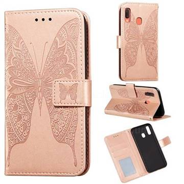Intricate Embossing Vivid Butterfly Leather Wallet Case for Samsung Galaxy A30 - Rose Gold