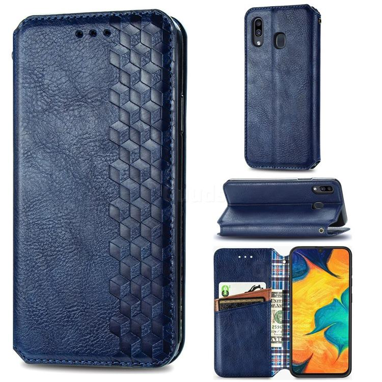 Ultra Slim Fashion Business Card Magnetic Automatic Suction Leather Flip Cover for Samsung Galaxy A30 - Dark Blue