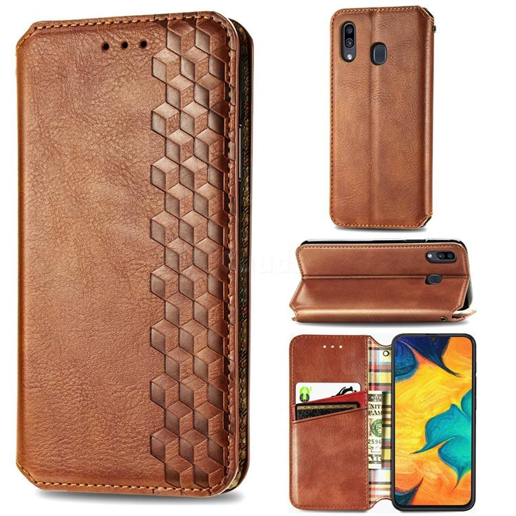 Ultra Slim Fashion Business Card Magnetic Automatic Suction Leather Flip Cover for Samsung Galaxy A30 - Brown