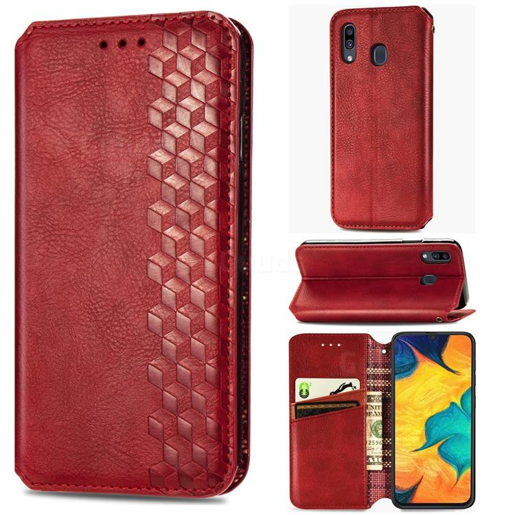 Ultra Slim Fashion Business Card Magnetic Automatic Suction Leather Flip Cover for Samsung Galaxy A30 - Red