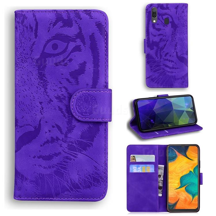 Intricate Embossing Tiger Face Leather Wallet Case for Samsung Galaxy A30 - Purple