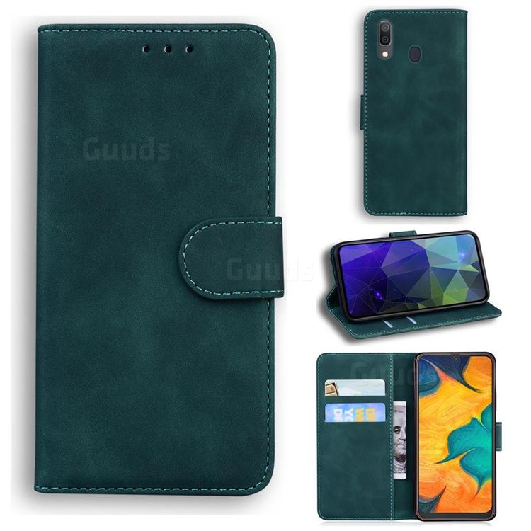 Retro Classic Skin Feel Leather Wallet Phone Case for Samsung Galaxy A30 - Green