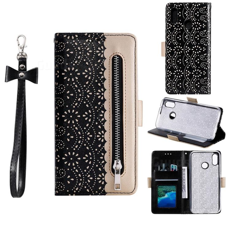 Luxury Lace Zipper Stitching Leather Phone Wallet Case for Samsung Galaxy A30 - Black