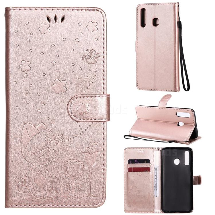 Embossing Bee and Cat Leather Wallet Case for Samsung Galaxy A30 - Rose Gold