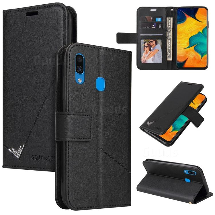 GQ.UTROBE Right Angle Silver Pendant Leather Wallet Phone Case for Samsung Galaxy A30 - Black
