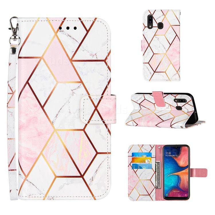 Pink White Stitching Color Marble Leather Wallet Case for Samsung Galaxy A30