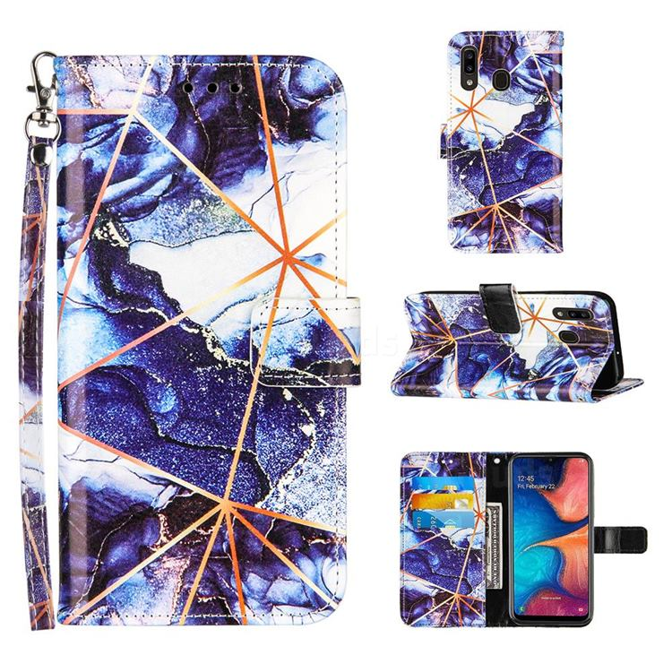 Starry Blue Stitching Color Marble Leather Wallet Case for Samsung Galaxy A30