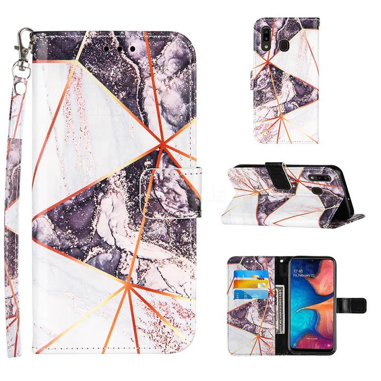 Black and White Stitching Color Marble Leather Wallet Case for Samsung Galaxy A30