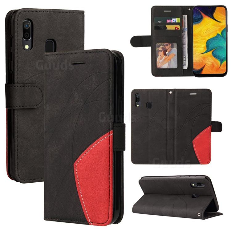 Luxury Two-color Stitching Leather Wallet Case Cover for Samsung Galaxy A30 - Black