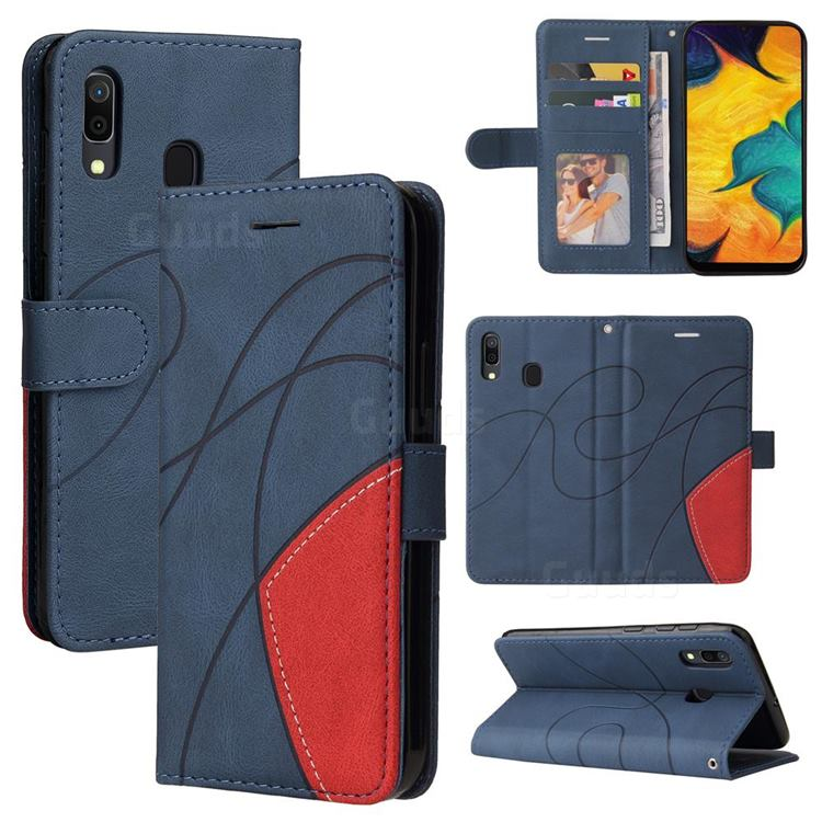 Luxury Two-color Stitching Leather Wallet Case Cover for Samsung Galaxy A30 - Blue